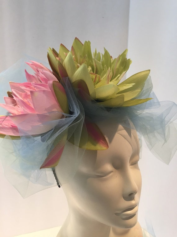 Water Lily Fascinator Derby Wedding hat Easter  f4380d66687