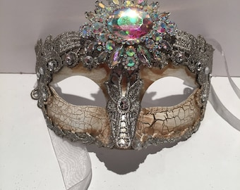Masquerade Masks- Costume Party Mask- NYC Mask- Silver Mask- Masquerade Ball- Mardi Gras Mask- Masked Ball -Mask on a stick- NYE Masks