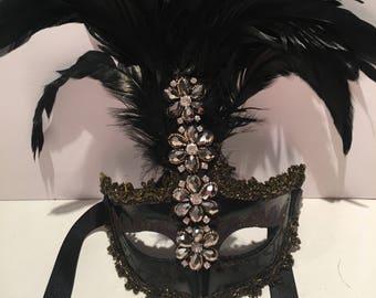 Black Masquerade Mask- Mardi Gras mask- Costume party - Black mask- Masquerade Ball- Mardi Gras Mask- Masked ball -Mask NYC- New Year Eve