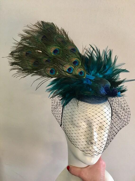 Blue Fascinator Peacock Headpiece Mad Hatter Derby  7764fbb91e9