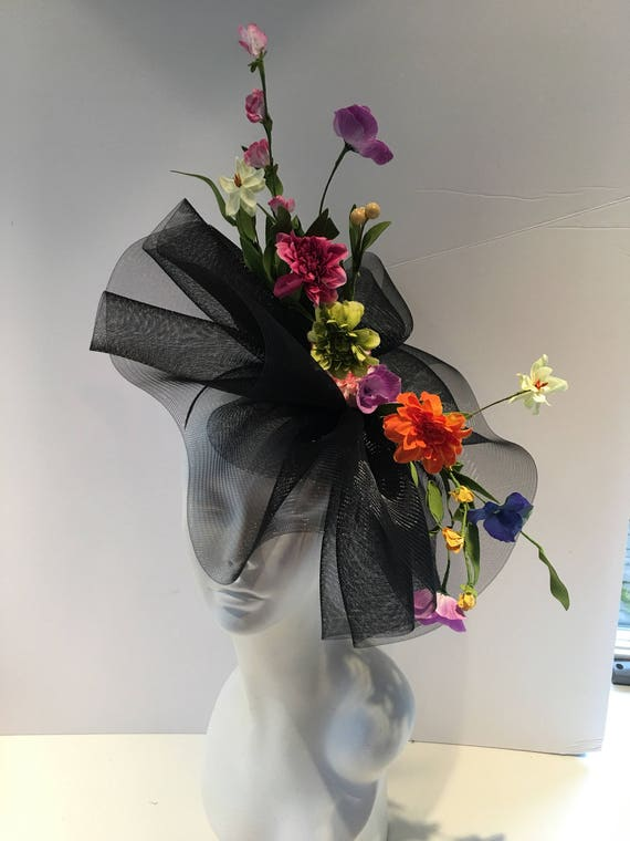 Black Fascinator Flower Hat Big Brim  0ea2d065c5c