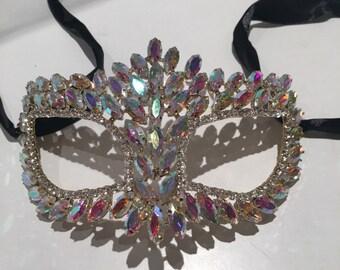 Rhinestone Mask- Masquerade Ball Mask- Costume Party- Masked Ball- Mardi Gras Mask- Prom- Homecoming- Bridal- Wedding Masks - Bride- NYE