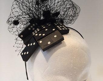 Black Fascinator- Derby Fascinator- Domino Headband -black and white Fascinator- Black dot Headpiece- Mad hatter Fascinator- Derby - Fun Hat
