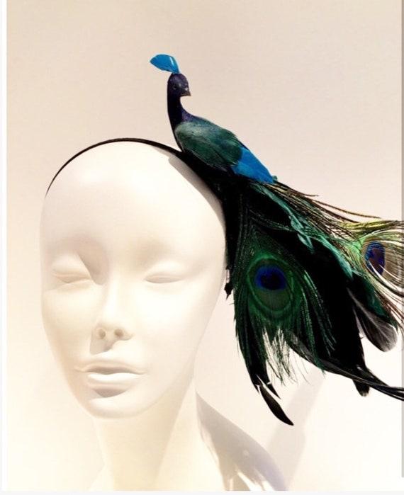Peacock Fascinator Bird Headband Mad Hatter  321b7ddc76e