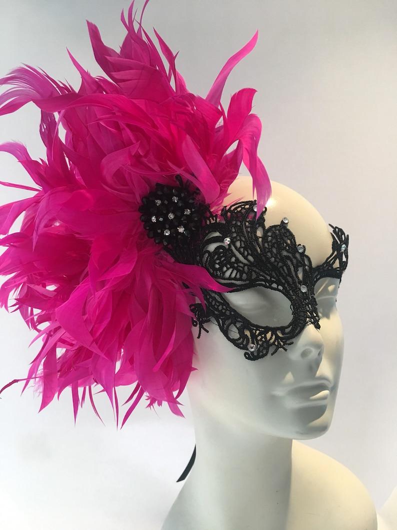 Feather Mask Lace Masquerade Mask Pink Mask