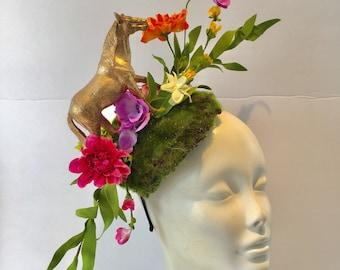 Horse Fascinator- Horserace Fascinator- Derby- Horse headband- Floral fascinator- Headdress NY- Derby- Fascinator- Polo Classic Fascinator