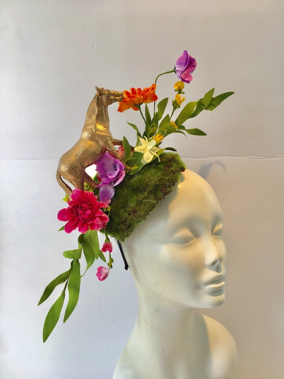 Horse Fascinator Derby headband Floral fascinator Polo  4c55d0473f4