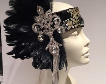 Gatsby Headpiece- Flapper Headpiece- Great Gastby- Rhinestone Feather Headdress- 1920s Headpiece- Prohibition- Jazz Age- Flapper Costume -
