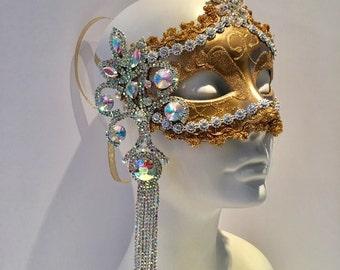 Gold  Mask- Rhinestone Mask- Masquerade Mask- Costume Party Mask- NYC Mask- Masquerade Ball- Mardi Gras Mask- Masked Ball- Custom mask