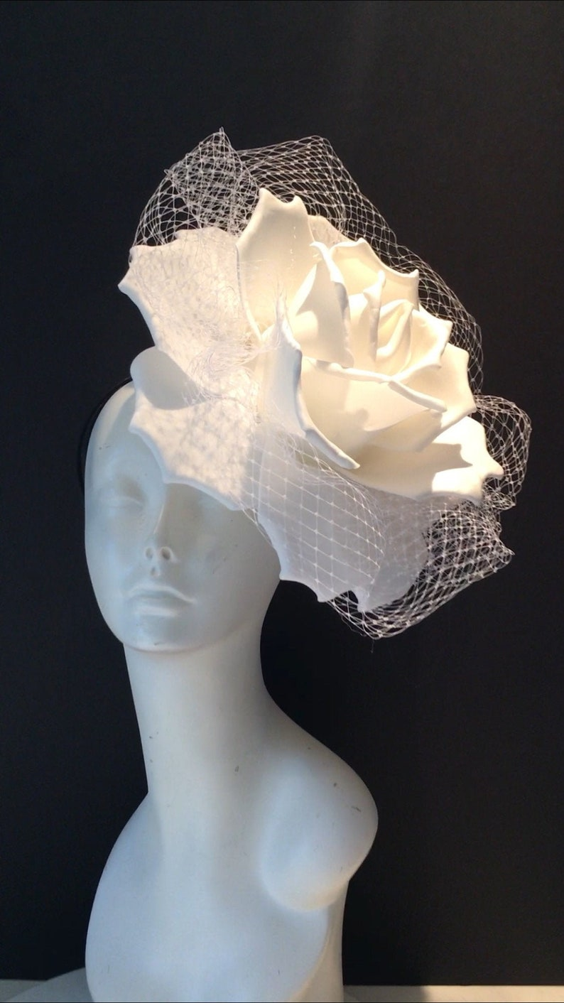 Large White Fascinators Diner en Blanc Rose Headband all white (shows)