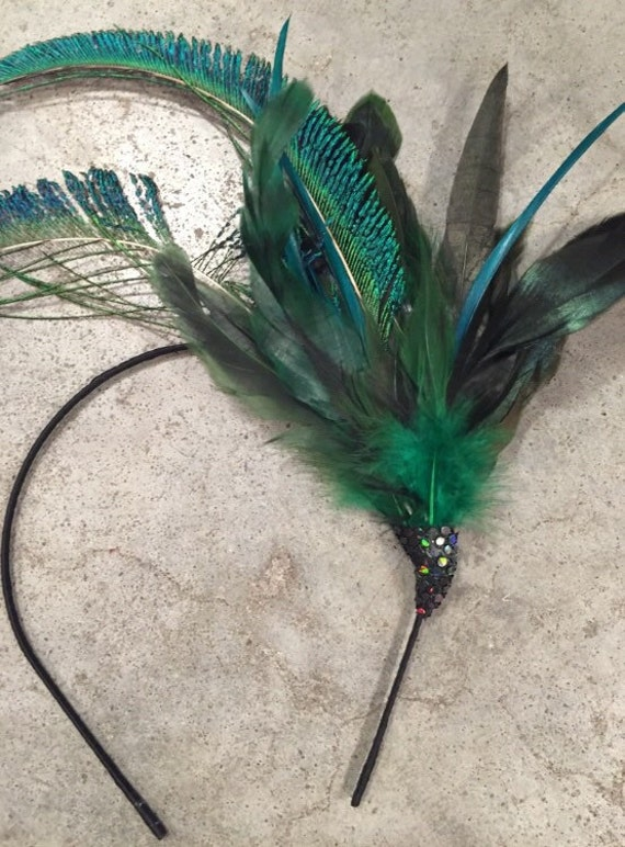 Peacock Feather Fascinator Headband 1920s  f263cfbfe3d