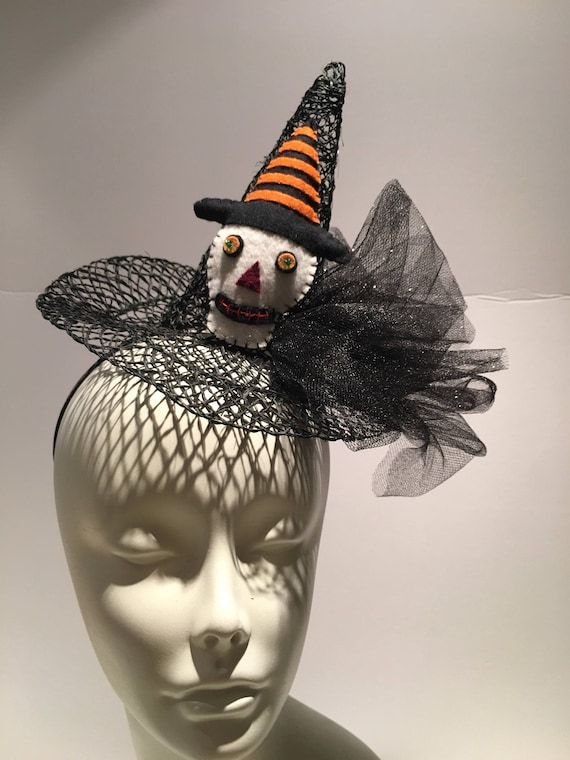 Witches Hat- Witch Fascinator- Mini Witch Top Hat- Halloween Hat- Wicked  Witch 484356236e5