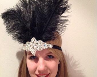 Flapper headpiece -Black 20s Feather Head Wrap- Gatsby Style- Flapper Costume- 1920s Hair- Speakeasy Accessory- Great Gatsby headdress