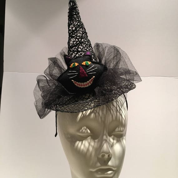 Witches Hat Black Cat Fascinator Halloween  5dd89fe9754