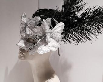 Halloween Mask- Silver Mask -Masquerade Mask- Costume party mask- Butterfly mask- Masquerade Ball- Mardi Gras Mask- Masked ball