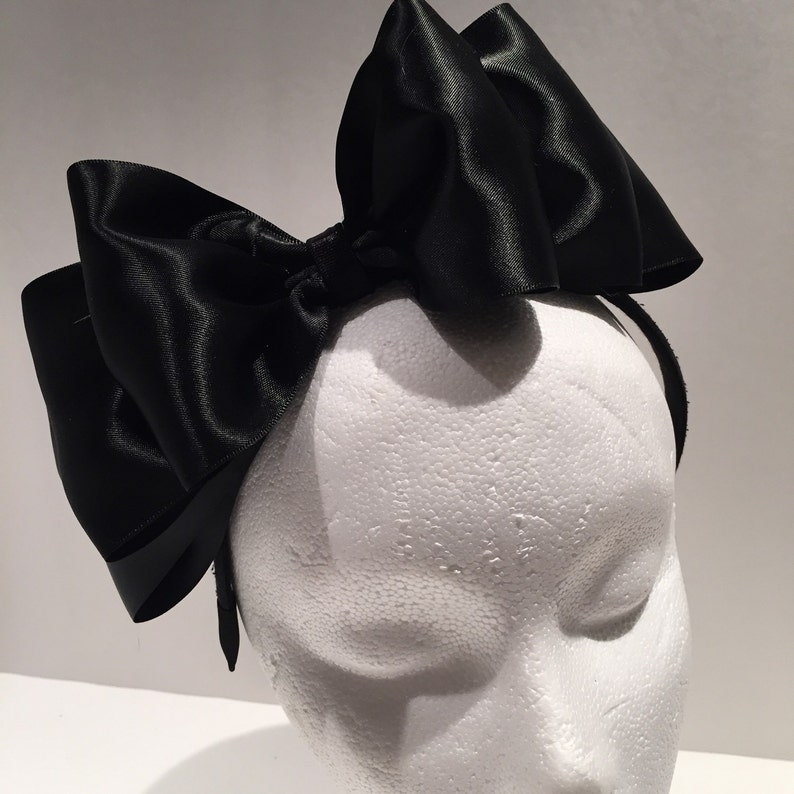Bow Fascinator Black satin Headband  86ccf00af4b