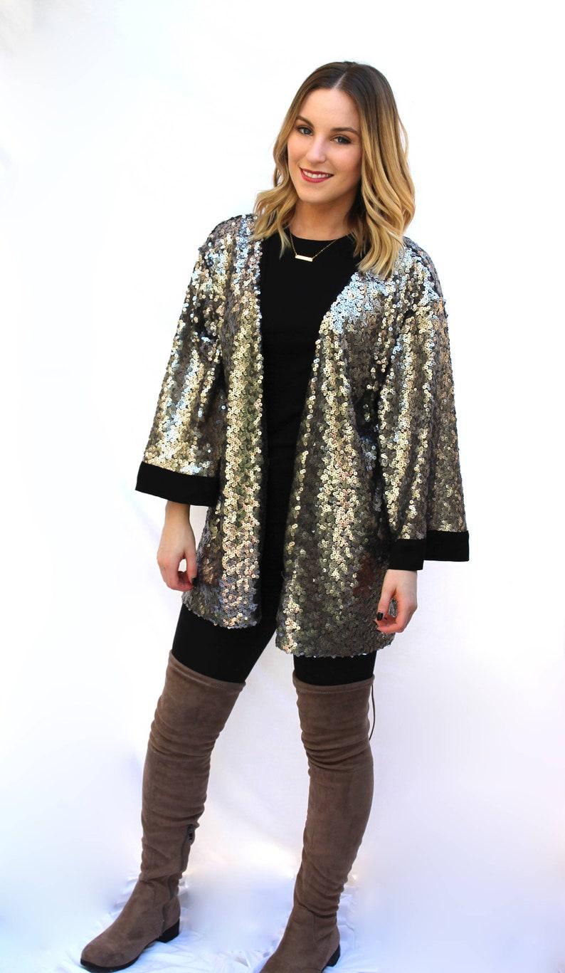 02b93ad7c94ca Silver Sequin Kimono, Free Size Kimono, Handmade Sequin Duster, Open Front  Sequin Jacket, Free US Shipping