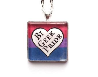 Bi Geek Pride Necklace   Queer Necklace   LGBTQ  