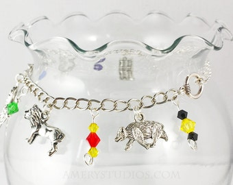 Wizard House Charm Bracelet   Honey Badger   Lion   Raven   Snake   Magic  