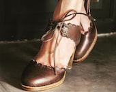 DANCE QUEEN. Brown leather shoes leather heel shoes women dance shoes high heels. Sizes 35-43. Available in different leather colors