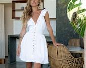 GABI. Eyelet Dress mini dress sleeveless cotton dress bohemian dress mini dress small ruffle dress women short dresses for women