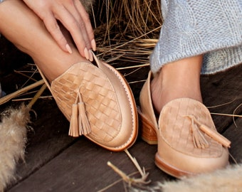 NIKITA. Penny loafers / leather loafers / formal shoes / womens flat shoes / woven shoes