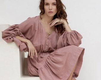 ALESSANDRA. Long sleeve mini dress / festival boho dress / bohemian gypsy dress / long sleeve mini dress