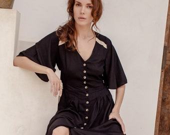 LOLA. Bohemian midi dress | bohemian gypsy dress | boho midi dress | rayon maxi dress