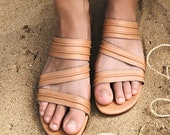MIRAGE. Leather flat sandals boho leather sandals barefoot shoes bohemian sandals womens loafers