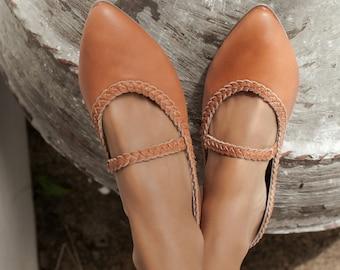 AMARA. Leather ballet flats | barefoot shoes | leather flat shoes | womens dress shoes | bridal flat shoes