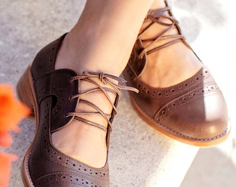 Handstitched Genuine Leather Women/'s Shoes Healty Flats Custom Made Oxford Tie Shoes