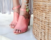 MIRACLE. Slingback mules shoes leather shoes wedding sandals women shoes block heel shoes. Sizes 35-43. Available in other colors