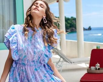 LOVING MILA. Casual summer dress | short cotton dress | ruffle hem dress | bohemian gypsy dress
