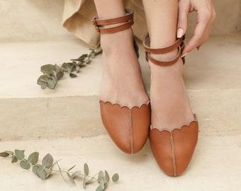 VENUS. Leather ballet flats | boho wedding shoes | barefoot shoes | leather flat sandals