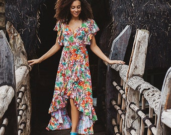d88242c98e88c Maxi dress boho   wrap maxi dress   boho maxi dress   frilled   coachella  dress   floral dress   bohemian dress   maxi dress boho
