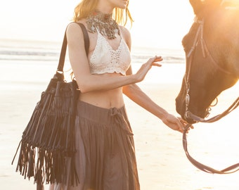 ANGEL FEATHER. Fringe leather bag / fringe purse / black leather fringe bag /black leather purse. Available in different leather colors.