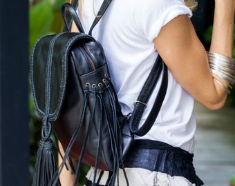 SANDY BAY. Black leather backpack / black backpack purse / black purse / fringe backpack / boho bag. Available in different leather colors.