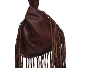 BOHO FALL. Fringe leather bag / brown leather wristlet / leather purse / leather pouch / small purse. Available in different leather colors.