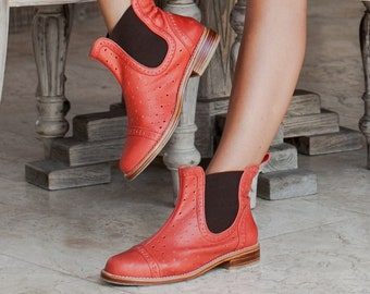 FREEBIRD. Red leather boots women / red boots / chelsea boots women / boho leather boots handmade. Sizes 35-43. Available in other colors.