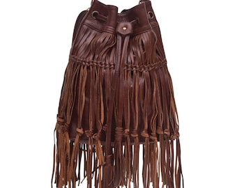 ANGEL FEATHER. Brown leather bag / fringe purse / fringe leather bag / brown leather purse / boho bag. Available in different leather colors