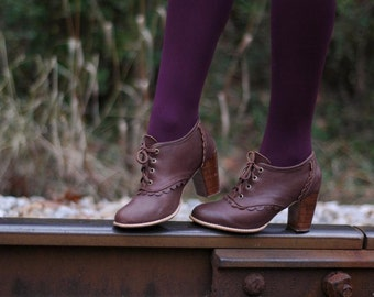 LACE. Brown leather boots / leather boots women / leather booties / oxford heels. ALL sizes