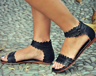 1561a2c4346c MIDSUMMER. Black leather sandals   women shoes   leather shoes   flat shoes    barefoot. Sizes 35-43. Available in different leather colors.