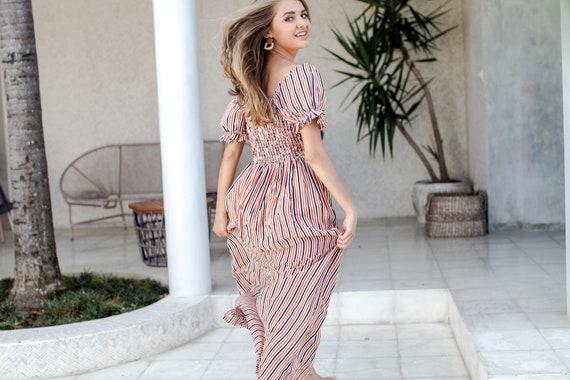 MARGARITA Off shoulder dress smocked dress  long dress  summer dress  open shoulder dress bohemian dress  cotton dress  resort dress