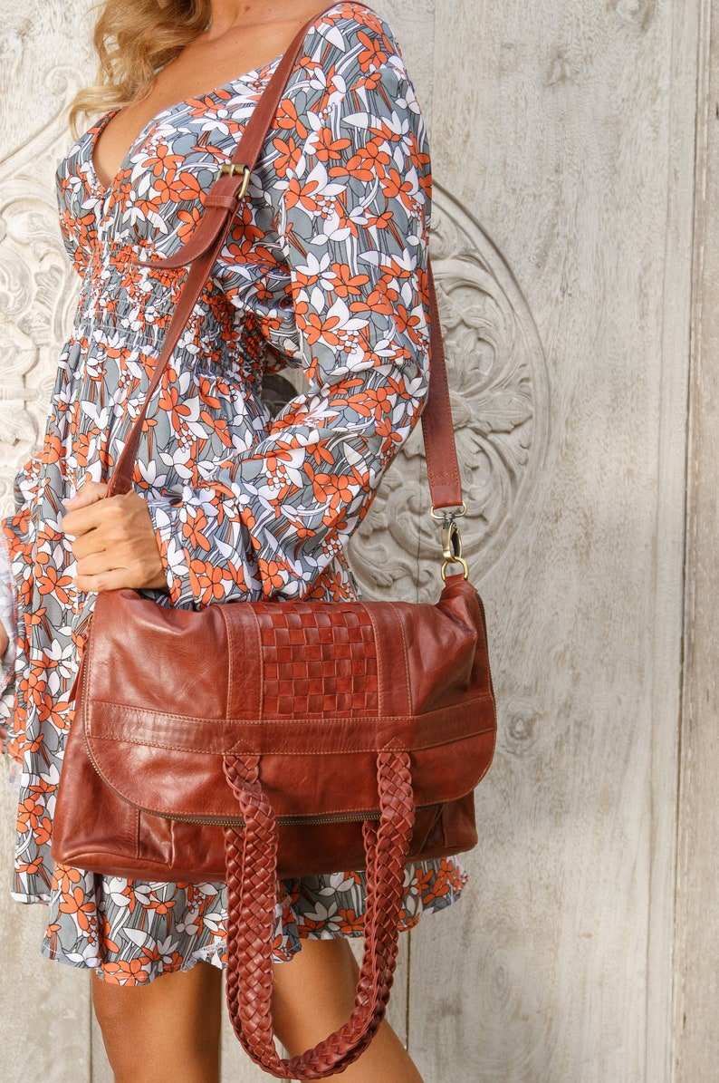 MARBELLA. Brown leather foldover crossbody bag   foldover  b5bf8ad947409