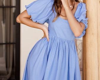 CHERIE puff sleeve midi dress. Bohemian gypsy dress | linen baby doll dress | cotton midi dress