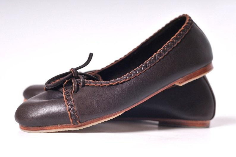 d5360441af3 SASHA. Brown leather ballet flats   leather loafers   brown