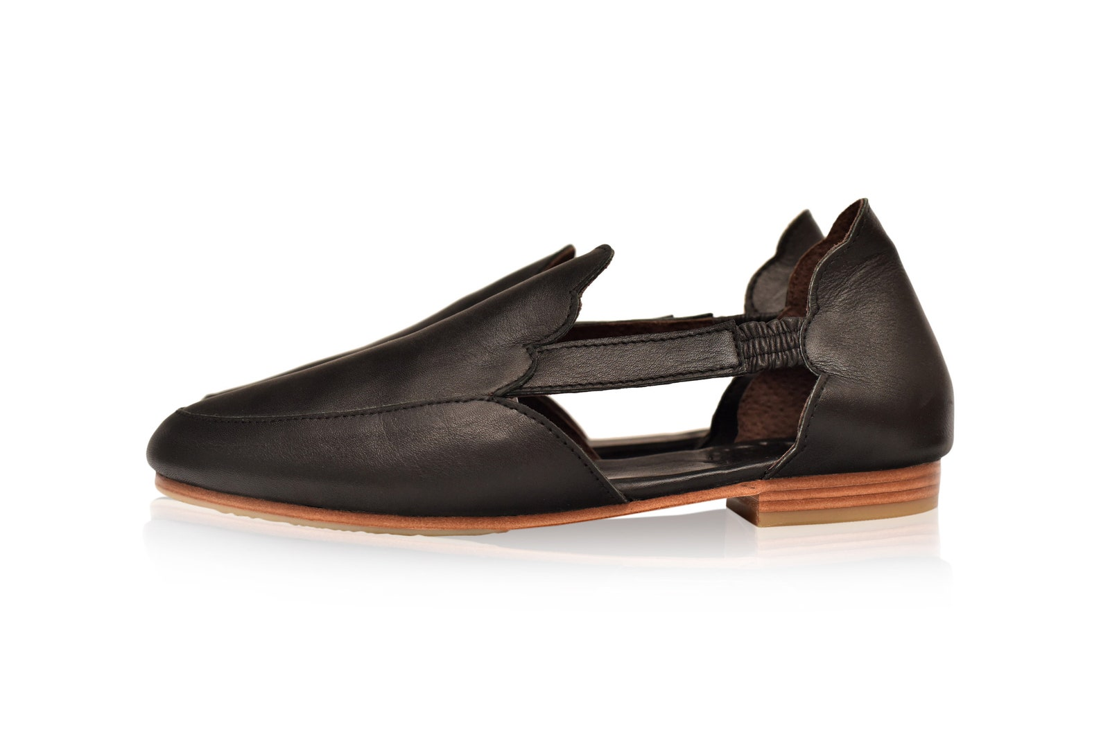 amalfi. black leather flats / leather ballet flats / leather shoes handmade / boho leather sandals. sizes 35-43 available in oth