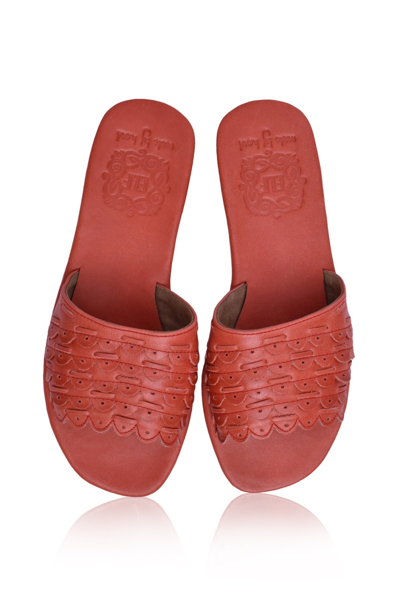 ce7fe48252c82 PALERMO. Red Leather sandals   red leather slides shoes   red
