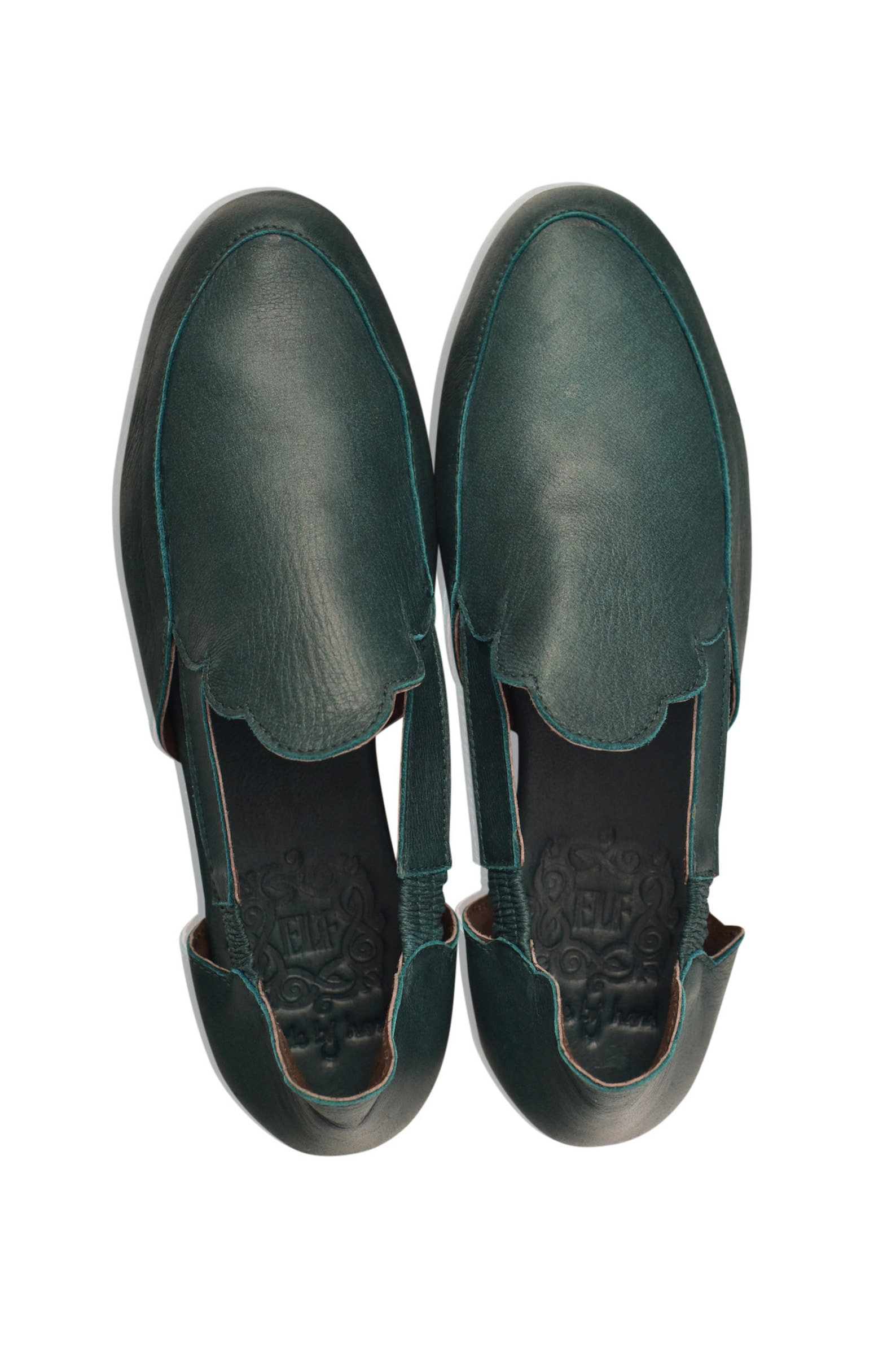 amalfi. green leather flats / leather ballet flats / leather shoes handmade / boho leather sandals. sizes 35-43 available in oth