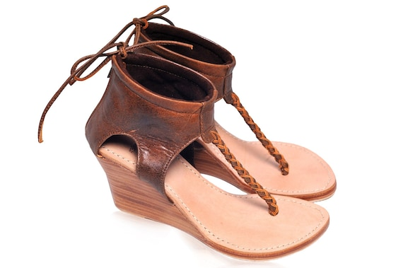 APHRODITE. Brown wedges   leather thong sandals   leather wedges